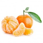 tangerines with leaves isolated on white background